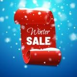 Υπόβαθρο χειμερινής πώλησης με το κόκκινα έμβλημα και το χιόνι επίσης corel σύρετε το διάνυσμα απεικόνισης ελεύθερη απεικόνιση δικαιώματος
