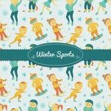 Υπόβαθρο χειμερινού αθλητισμού με τα παιδιά, διάνυσμα απεικόνιση αποθεμάτων