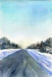 Υπόβαθρο χειμερινού watercolor Στοκ Φωτογραφίες
