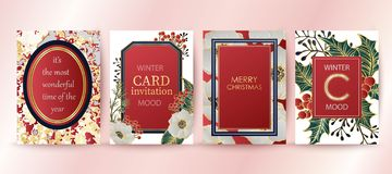 Υπόβαθρο χειμερινών διακοπών, πρόσκληση Σχέδιο γαμήλιων σχεδίων Χαρούμενα Χριστούγεννα και κάρτα καλής χρονιάς ελεύθερη απεικόνιση δικαιώματος