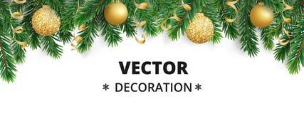 Υπόβαθρο χειμερινών διακοπών Σύνορα με τους κλάδους χριστουγεννιάτικων δέντρων Γιρλάντα, πλαίσιο με την ένωση των μπιχλιμπιδιών,  Στοκ φωτογραφίες με δικαίωμα ελεύθερης χρήσης