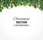 Υπόβαθρο χειμερινών διακοπών Σύνορα με τους κλάδους χριστουγεννιάτικων δέντρων Γιρλάντα, πλαίσιο με την ένωση των μπιχλιμπιδιών,  Στοκ εικόνα με δικαίωμα ελεύθερης χρήσης