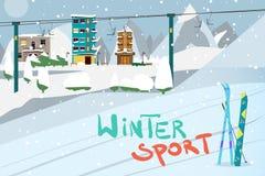 Υπόβαθρο χειμερινών καρτών Βουνά, εξοπλισμός ι σνόουμπορντ και σκι διανυσματική απεικόνιση