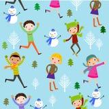 Υπόβαθρο χειμερινών παιδιών Στοκ Εικόνες