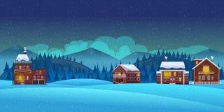 Υπόβαθρο χειμερινών τοπίων κινούμενων σχεδίων Στοκ Εικόνες