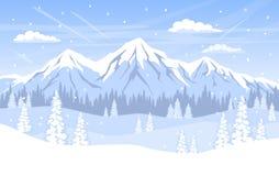 Υπόβαθρο χειμερινών τοπίων με τα δασικά βουνά και το χιόνι δέντρων πεύκων απεικόνιση αποθεμάτων