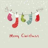 Υπόβαθρο Χριστουγέννων, γυναικείες κάλτσες Χριστουγέννων καρτών για τα δώρα Στοκ φωτογραφία με δικαίωμα ελεύθερης χρήσης
