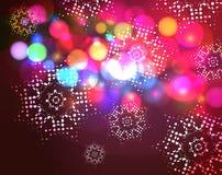 Υπόβαθρο Χριστουγέννων επίδρασης Bokeh με snowflakes Στοκ Εικόνες