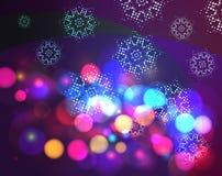 Υπόβαθρο Χριστουγέννων επίδρασης Bokeh με snowflakes Στοκ Φωτογραφίες