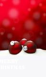 Υπόβαθρο Χριστουγέννων - κόκκινο διακοσμήσεων Χριστουγέννων - χιόνι Στοκ εικόνα με δικαίωμα ελεύθερης χρήσης