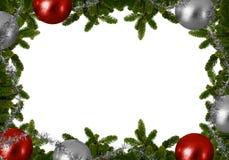 Υπόβαθρο Χριστουγέννων - κλάδοι έλατου με τις σφαίρες Χριστουγέννων Στοκ Εικόνες