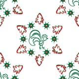 Υπόβαθρο Χριστουγέννων με έναν κόκκορα πρότυπο άνευ ραφής Στοκ φωτογραφίες με δικαίωμα ελεύθερης χρήσης
