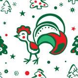 Υπόβαθρο Χριστουγέννων με έναν κόκκορα πρότυπο άνευ ραφής Στοκ εικόνες με δικαίωμα ελεύθερης χρήσης