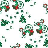 Υπόβαθρο Χριστουγέννων με έναν κόκκορα πρότυπο άνευ ραφής Στοκ Εικόνα
