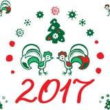 Υπόβαθρο Χριστουγέννων με έναν κόκκορα πρότυπο άνευ ραφής Στοκ Εικόνες