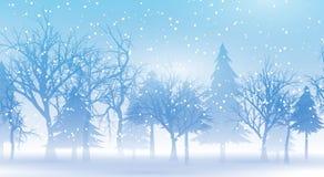 Υπόβαθρο Χριστουγέννων με ένα χιονώδες χειμερινό τοπίο Στοκ Φωτογραφία