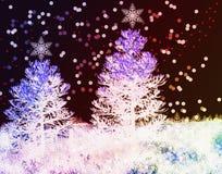 Υπόβαθρο Χριστουγέννων με τα δέντρα έλατου Στοκ Εικόνα