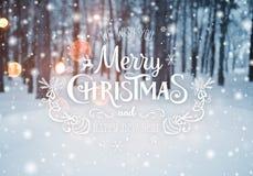 Υπόβαθρο Χριστουγέννων με τα δέντρα έλατου και θολωμένο υπόβαθρο του χειμώνα με τη Χαρούμενα Χριστούγεννα και καλή χρονιά κειμένω Στοκ φωτογραφίες με δικαίωμα ελεύθερης χρήσης