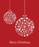 Υπόβαθρο Χριστουγέννων με τα εικονίδια Ιστού Στοκ Φωτογραφίες