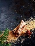 Υπόβαθρο Χριστουγέννων με τα παραδοσιακά καρυκεύματα Στοκ Εικόνα