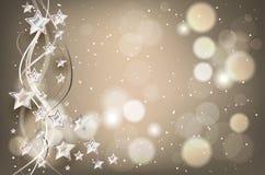 Υπόβαθρο Χριστουγέννων με τα φω'τα και τα αστέρια Στοκ εικόνες με δικαίωμα ελεύθερης χρήσης