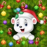 Υπόβαθρο Χριστουγέννων με την ευτυχή πολική αρκούδα Στοκ Εικόνες