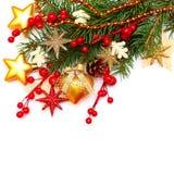 Υπόβαθρο Χριστουγέννων με τη σφαίρα γυαλιού, χρυσά αστέρια Στοκ εικόνες με δικαίωμα ελεύθερης χρήσης