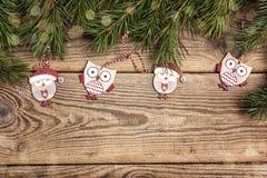Υπόβαθρο Χριστουγέννων με τις αστείους κουκουβάγιες και τους κλάδους πεύκων στο παλαιό wo Στοκ Εικόνα