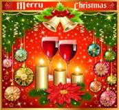 Υπόβαθρο Χριστουγέννων με τις σφαίρες και τα γυαλιά του κουδουνιού λουλουδιών κρασιού Στοκ Φωτογραφίες