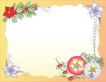 Υπόβαθρο Χριστουγέννων με τις σφαίρες και τα λουλούδια Στοκ Φωτογραφία