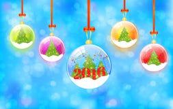 Υπόβαθρο Χριστουγέννων με τις σφαίρες χιονιού Στοκ Εικόνες