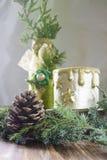 Υπόβαθρο Χριστουγέννων με τον κώνο, κλάδος του χριστουγεννιάτικου δέντρου Στοκ Εικόνες