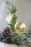 Υπόβαθρο Χριστουγέννων με τον κώνο, τον κλάδο του χριστουγεννιάτικου δέντρου, τη σφαίρα και το μπουκάλι Στοκ εικόνα με δικαίωμα ελεύθερης χρήσης