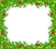Υπόβαθρο Χριστουγέννων με τον κλάδο και τις σφαίρες Στοκ Εικόνες