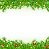 Υπόβαθρο Χριστουγέννων με τον κλάδο και τις σφαίρες Στοκ Φωτογραφίες
