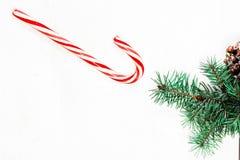 Υπόβαθρο Χριστουγέννων με τους κλάδους δέντρων έλατου και το ριγωτό ασβέστιο καραμελών Στοκ φωτογραφία με δικαίωμα ελεύθερης χρήσης