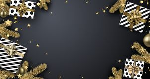 Υπόβαθρο Χριστουγέννων με τους κλάδους και τα δώρα έλατου Στοκ Εικόνα