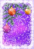 Υπόβαθρο Χριστουγέννων με τους κλάδους και τις σφαίρες Στοκ Εικόνα