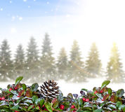 Υπόβαθρο Χριστουγέννων με το δάσος Στοκ φωτογραφία με δικαίωμα ελεύθερης χρήσης