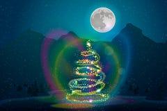 Υπόβαθρο Χριστουγέννων με το δέντρο, αστέρια, φεγγάρι, βουνά στοκ εικόνα