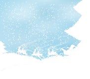 Υπόβαθρο Χριστουγέννων με το έλκηθρο και Santa ταράνδων Στοκ Εικόνες