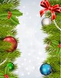 Υπόβαθρο Χριστουγέννων με το διακοσμημένο χριστουγεννιάτικο δέντρο Στοκ Εικόνες