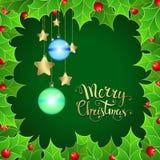 Υπόβαθρο Χριστουγέννων με το μούρο ελαιόπρινου και το χειρόγραφο κείμενο διανυσματική απεικόνιση