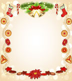 Υπόβαθρο Χριστουγέννων με το λουλούδι και τα κουδούνια μελοψωμάτων Στοκ Εικόνα