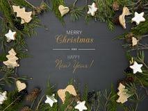 Υπόβαθρο Χριστουγέννων με το πλαίσιο στοκ φωτογραφίες