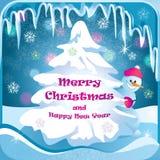 Υπόβαθρο Χριστουγέννων με το χριστουγεννιάτικο δέντρο και το χιονάνθρωπο διανυσματική απεικόνιση