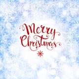 Υπόβαθρο Χριστουγέννων με snowflakes και το χειρόγραφο κείμενο απεικόνιση αποθεμάτων