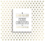 Υπόβαθρο Χριστουγέννων με snowflakes και Χαρούμενα Χριστούγεννας την ετικέτα Στοκ Φωτογραφίες