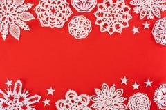 Υπόβαθρο Χριστουγέννων με snowflakes της Λευκής Βίβλου Στοκ Φωτογραφίες