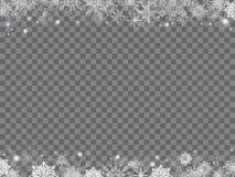 Υπόβαθρο Χριστουγέννων παραμυθιού πολλά snowflakes πλαίσιο διαφανές Στοκ εικόνες με δικαίωμα ελεύθερης χρήσης